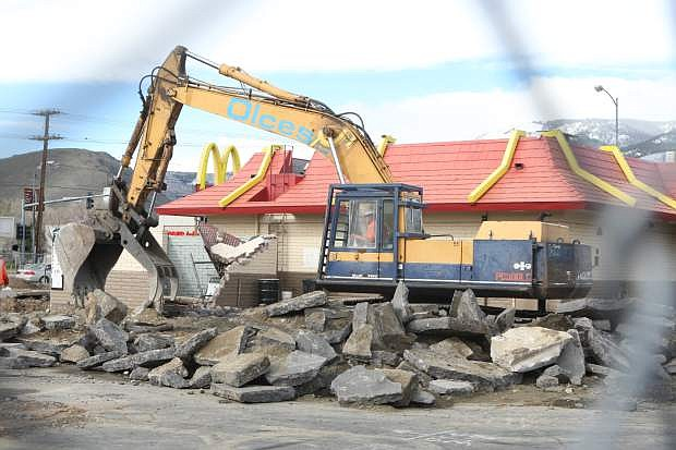 Demolition on the McDonald's at Winnie Lane started on Wednesday morning.