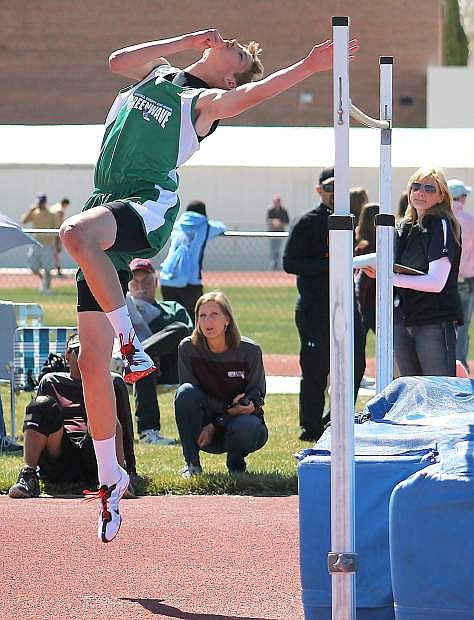 Fallon sophomore Tristen Thomson attempts to clear the bar during Saturday's high jump at the Yerington Relays.