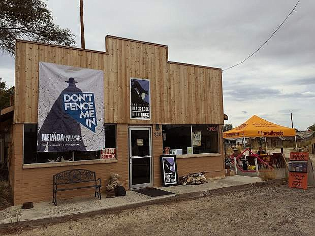 """During Burning Man, TravelNevada used its new slogan """"Don't Fence Me In"""" at a welcome station outside of the Friends of Black Rock High Rock office in Gerlach."""