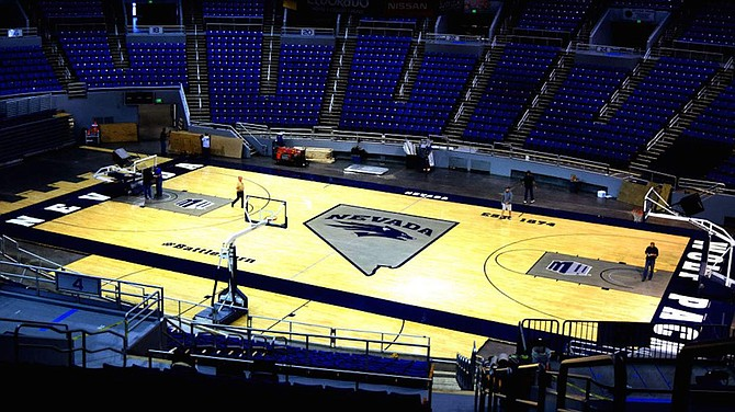The University of Nevada has installed a new basketball court.