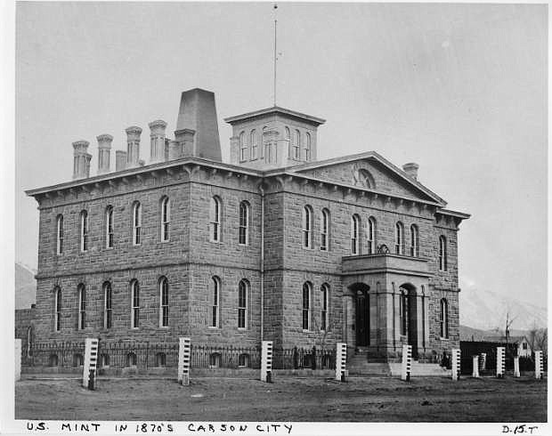 The U.S. Mint in Carson City is shown around 1875.