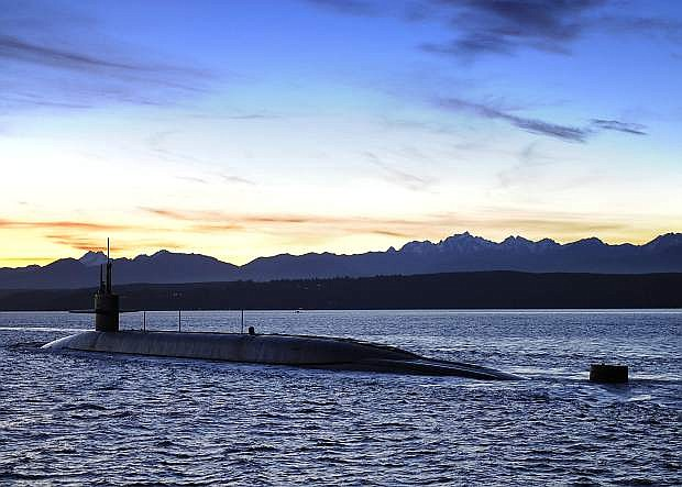 The USS Nevada leaves Puget Sound Friday morning on its way to its homeport, Naval Base Kitsap-Bangor.