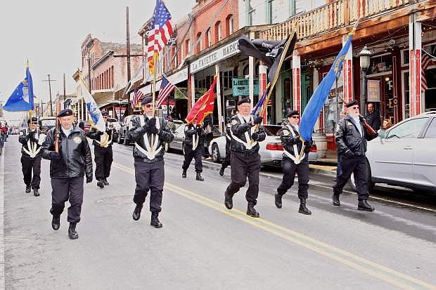 Veterans march in last year's Memorial Day Parade in Virginia City.