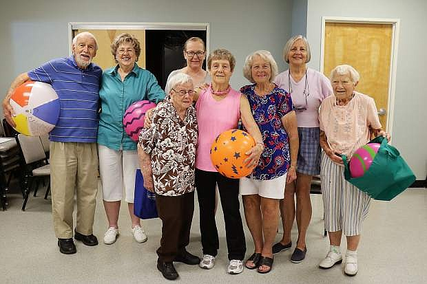 Jerry Vance's Senior and Better Breather class on Wednesday at the Carson Senior Center. From left: Pierre Hathaway, Florence Phillips, Maisie Elliot, Jeanette Seeman, Jerry Vance, Bev Allen, Jen Dunn and Peggy O'Hearn.