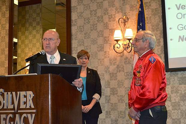 Veterans Services Commission Chairman Bill Bauman presented Ken Santor with the Nevada Veteran of the Month award on March 8.