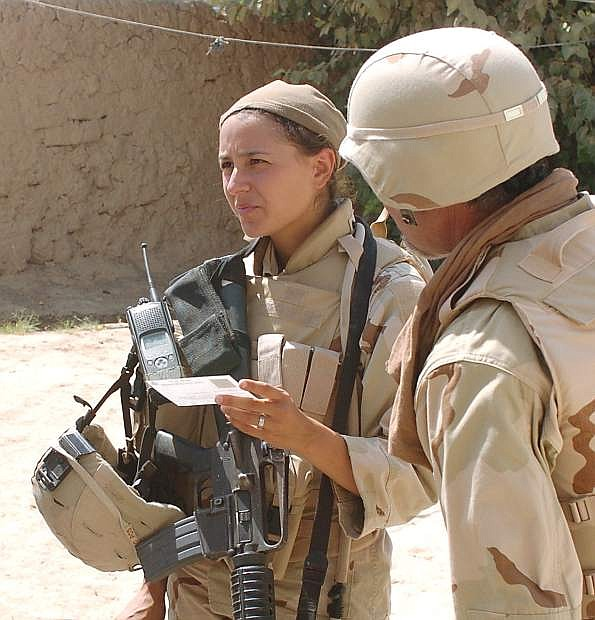 Elana Duffy in central Iraq in 2005 during a multi-day cordon and search mission, just months before she suffered a brain injury from an IED explosion.