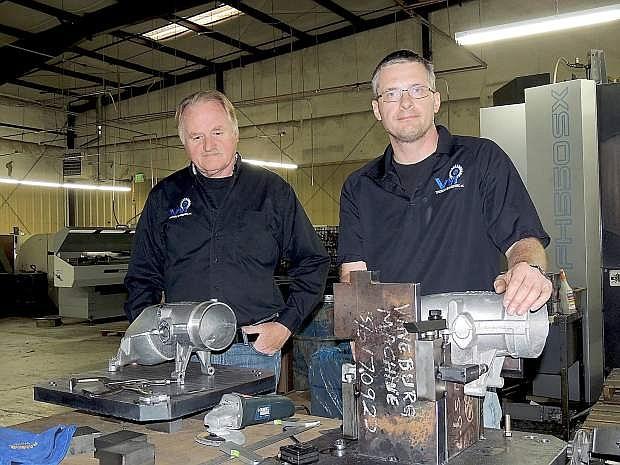 Founder Gerd Poppinga, left, and general manager Sven Klatt at Vineburg Machining earlier this week.