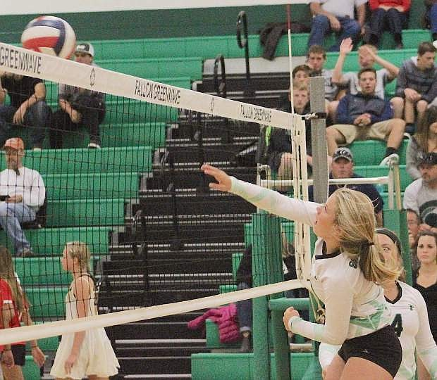 Whitney Skabelund of Fallon returns the ball to Truckee during Tuesday's volleyball match.