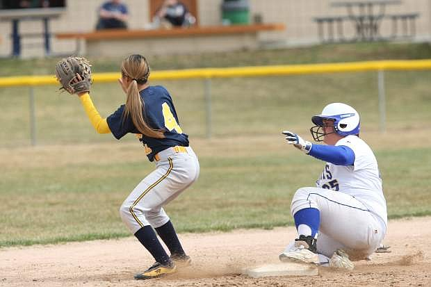 Western Nevada catcher Sydney Darby catches an pitch during Friday's doubleheader.