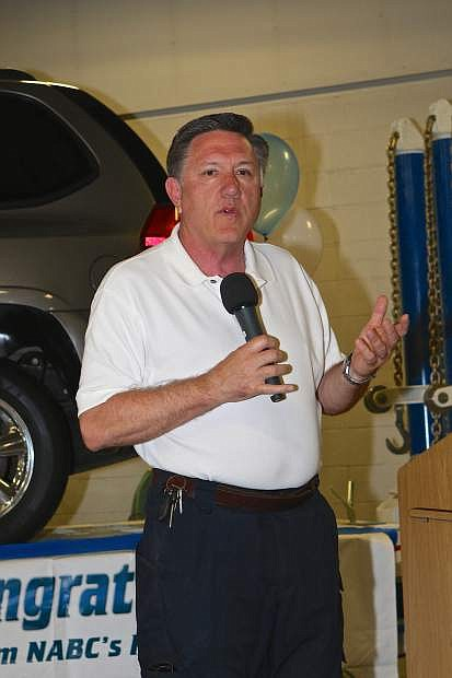 Assemblyman P.K. O'Neill addresses the crowd gathered at WNC Saturday.