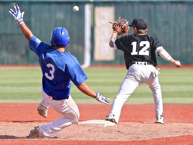 David Modler (3) slides in to 2nd base in a game against Southern Idaho Thursday at WNC.