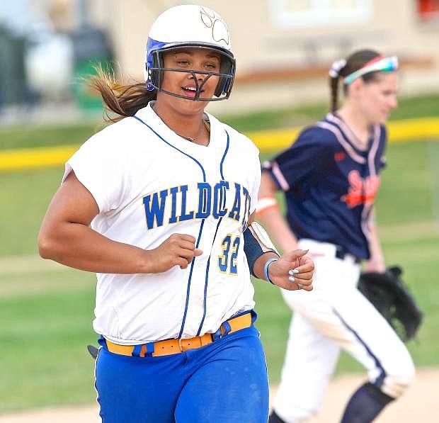 Wildcat catcher Briauna Carter rounds 3rd base after hitting a homerun last season against Snow College.