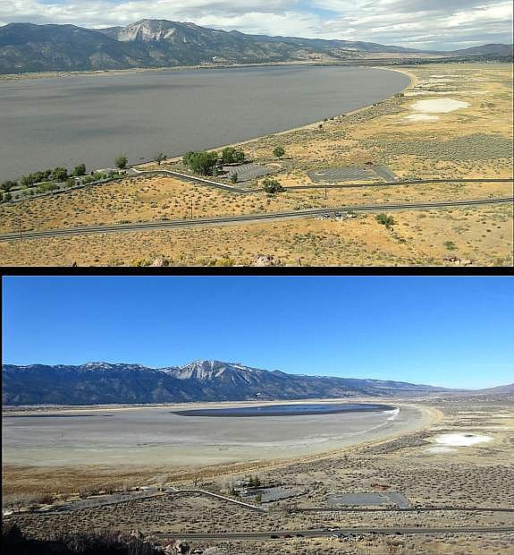 Anna Pittenger submitted this photo of two photos of Washoe Lake. The top photo was taken from the gazebo overlooking Washoe Lake in September 2011. The bottom photo was taken Sunday at the gazebo.