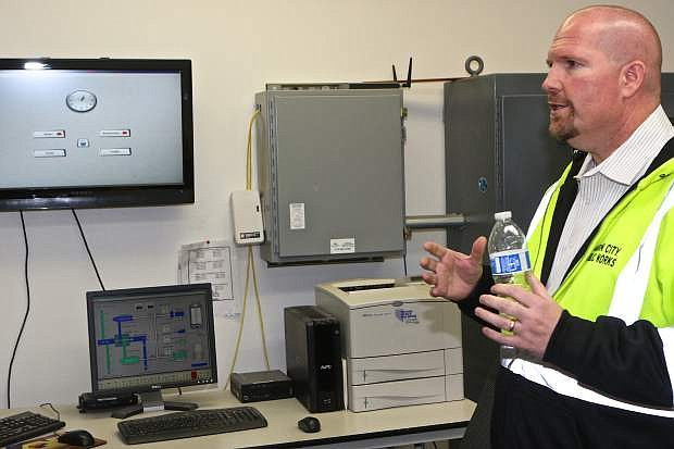 Carson City Public Works Utility Manager, David Burketta, speaks Thursday afternoon in the Ops Command Center about upgrades coming to the wastewater treatment facility.