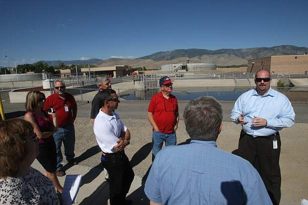Residents tour the city's wastewate-rtreatment plant Monday