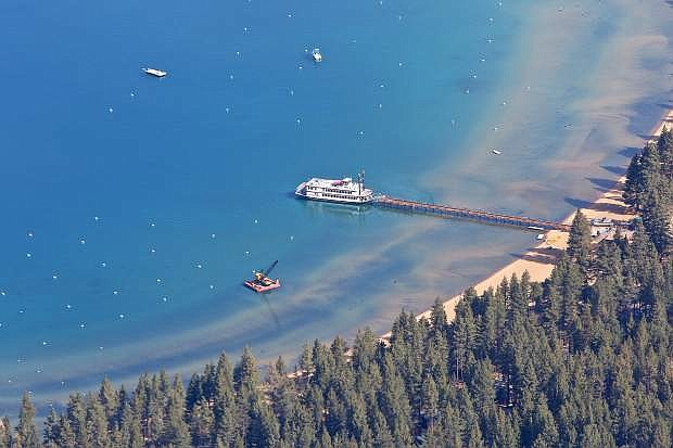 An aerial photo of the MS Dixie II and the Zephyr Cove area is seen Thursday.