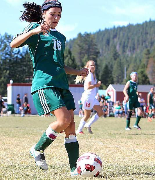 Lady Wave forward Kayla Biggs settles the ball during Fallon's 2-0 loss at Truckee on Saturday.