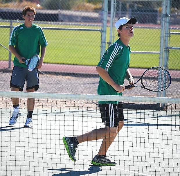 Fallon'sGarrett Kalt, right, was awarded a $750 tennis scholarship recently for his effors this season with doubles partner Adam Wadsworth.