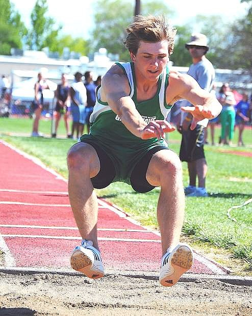 Fallon sprinter Tyson Ernst wins the 100-meter race during Friday's Northern Division I-A regional track meet in Yerington.