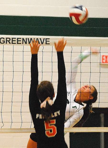 Fallon's Miranda Ford goes for the kill during Tuesday's three-set win over Fernley.
