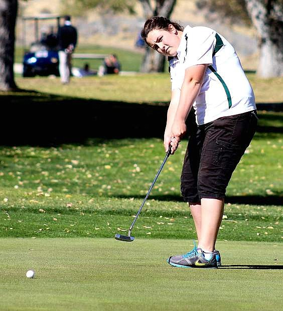 Fallon golfer Sara Evans carded a 104 during Monday's first round at the Division I-A state golf tournament in Elko.