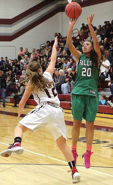 Fallon's Leilani Otuafi (20) jumps to shoot in the Lady Wave's previous win against Elko in the first half of the season.