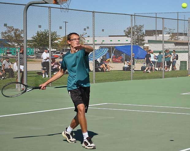 Fallon junior Thomas Jamieson steps up to return the serve from Incline on Tuesday.