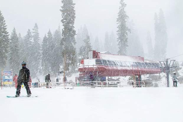 A Wednesday, Nov. 24, storm drops a fresh coat of snow on Northstar California Resort. More snow is expected for the Tahoe Basin this week.