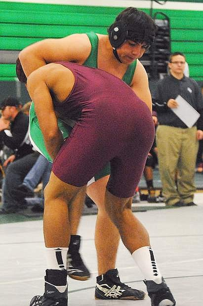 Fallon's Juan Ledesma fights to get out of a hold during last week's tournament in Fallon.