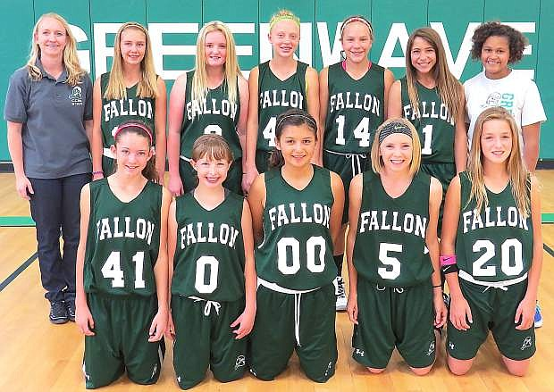 The Churchill County Middle School seventh-grade basketball team back row from left are coach Mandie Lister, Savannah Robinson, Ramsi Dolan, Kinsli Rogne, Makenzee Moretto, Ashley Agaman and manager Toriana Rahm. Not Pictured is manager Gracie Homma. Front row from left are Rylee Ott, Ashlynn Shults, Ariana Magana, Karlee Hitchcock and Aspen Mori.