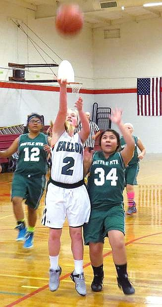 Churchill County Middle School seventh-grader Ramsi Dolan takes a shot in the Lady Wave's 41-16 win over Battle Mountain recently.