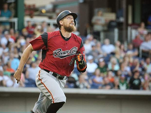 Hunter Pence watches his two-run home run Wednesday.