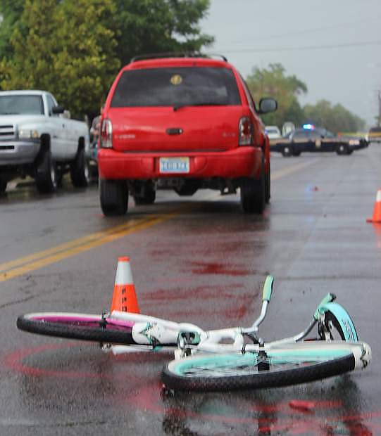 A 12-year-old Fallon girl was hurt Wednesday when an SUV hit her bicycle on Stillwater Avenue.