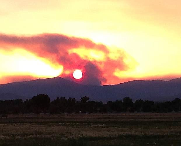 Fresno, Calif., resident Shelly Lether took this photo of the sun rising through the smoke of the Bison fire on Monday.