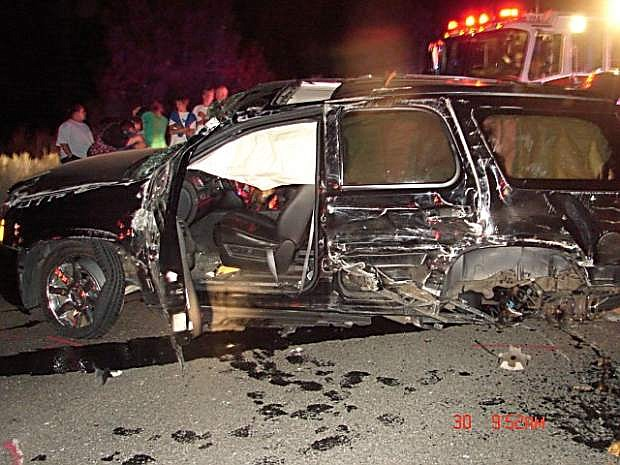 The wreckage of one of the vehicles involved in a three-car crash at Cave Rock is shown July 30.