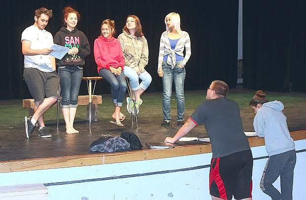 "Cast members from the production of ""Anne of Avonlea"" practice their lines on Thursday."