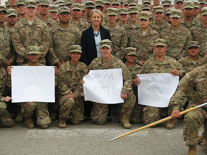 Nevada Secretary of State visited our deploying troops in Texas to make sure they would have their chance to vote.