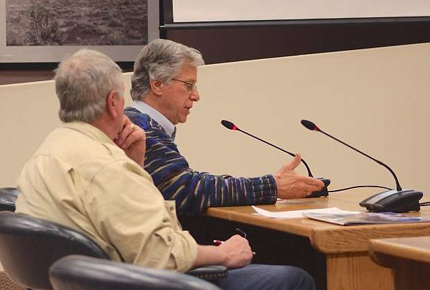 Bob Clifford, left, and Floyd Rathub speak at Wednesday's Churchill County Commission meetingon the BLM's Resource Management Plan.