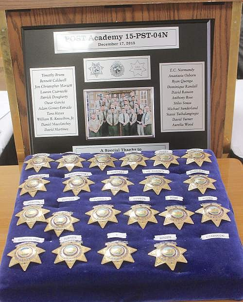 Badges await 22 graduate for Corrections Officer class 15-PST-04N..