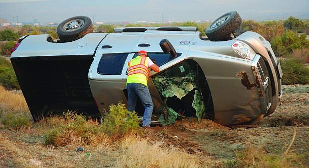 An early morning rollover accident one mile east of Hazen on U.S. Highway 50 westbound  slightly injured one person on Thursday. The Nevada Highway Patrol identified the driver as Rena Ferrante-Smith of Fallon.