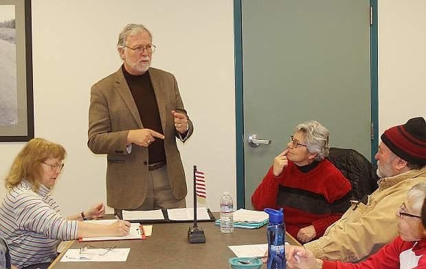 Chip Evans, a Reno radio talk show host, discusses his bid to unseat incumbent Congressman Mark Amodei for Fallon Democrats on Thursday.