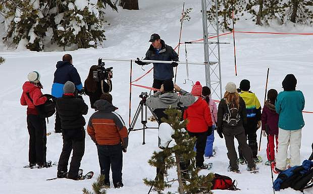 Hydrologist Jeff Anderson measures the snowpack at Mt. Rose on Monday.