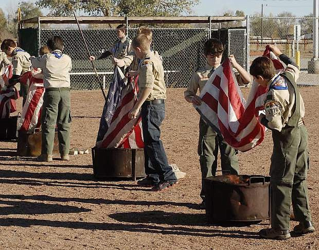 Boy Scout Troop 1776 conducted a Flag Retirement Ceremony on Veterans Day.