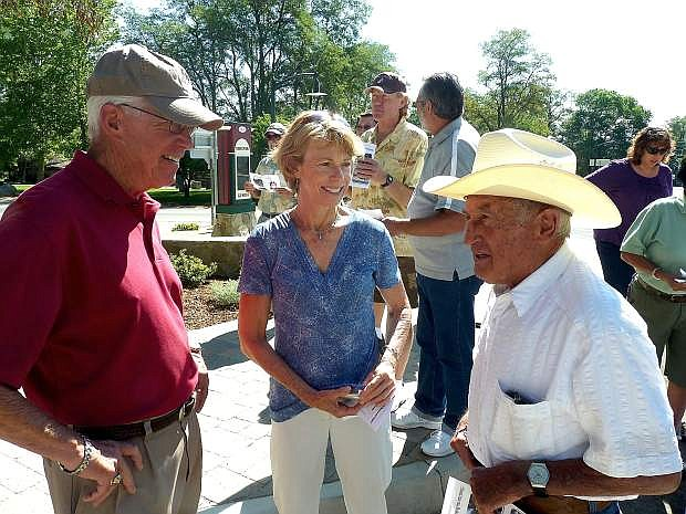Dan Aynesworth, Sandra Wendel and John Ascuaga talk just before the dedication of the improvements to Genoa on Saturday.