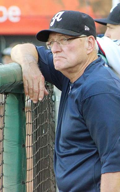 Reno hitting coach Greg Gross watches the Aces in between innings.