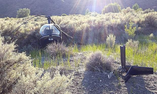 Wreckage of a helicopter in the Pine Nut Mountains on Wednesday.