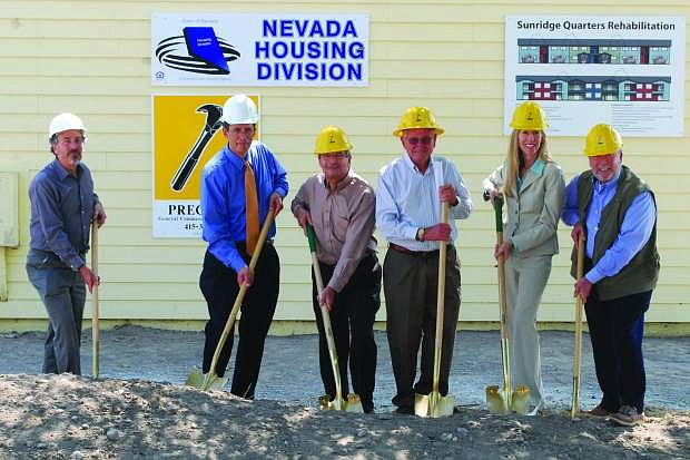 Those participating in the groundbreaking are, from left, Eric Novak, Praxis Consulting; Mike Dang, chief of Programs for Nevada Housing Division; Perry Comeaux, president of Nevada Rural Housing, Inc.; Willis Swan, chairman of the Nevada Rural Housing Authority (NRHA) Board of Commissioners; C.J. Manthe, CFO of NRHA; Gary Longaker, executive director of NRHA.