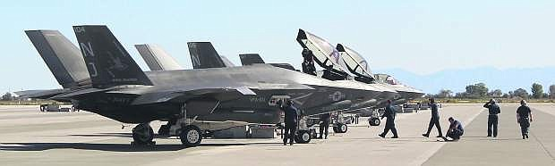 F-35C Lightning II fighter jets have been training at Naval Air Station for the past week.