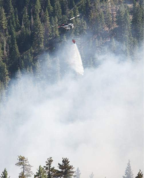 A 6-acre fire erupted Wednesday afternoon on Kingbury grade and NDF air resources quickly responded.