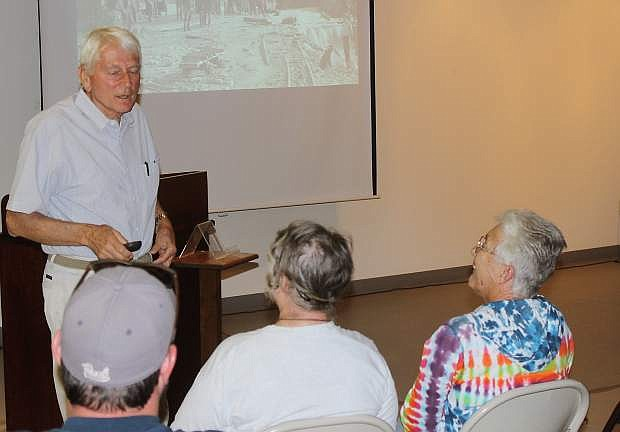 Nevada author Stanley Paher speals at the Churchill County Museum Thursday night.